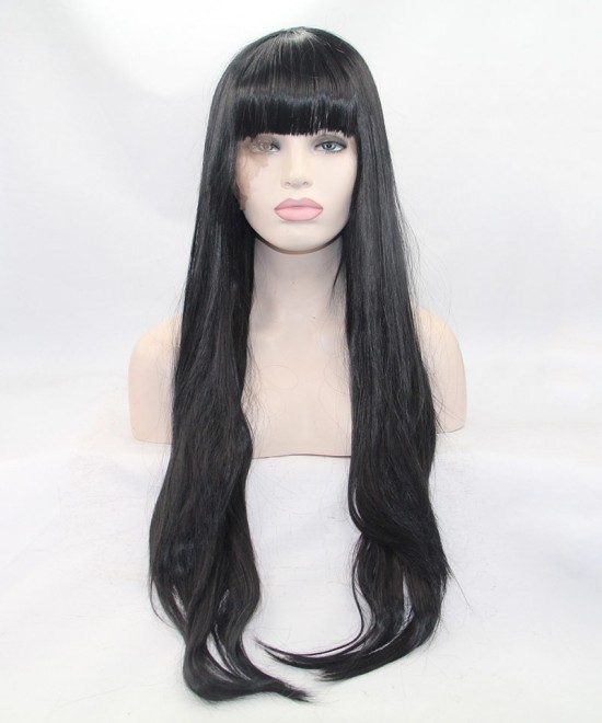 Dolago Black Long Straight Lace Front Wig Synthetic Wig With Bang