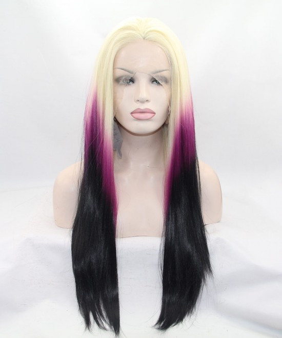 Dolago Blonde/Purple Ombre Lace Front Wig Synthetic Wig