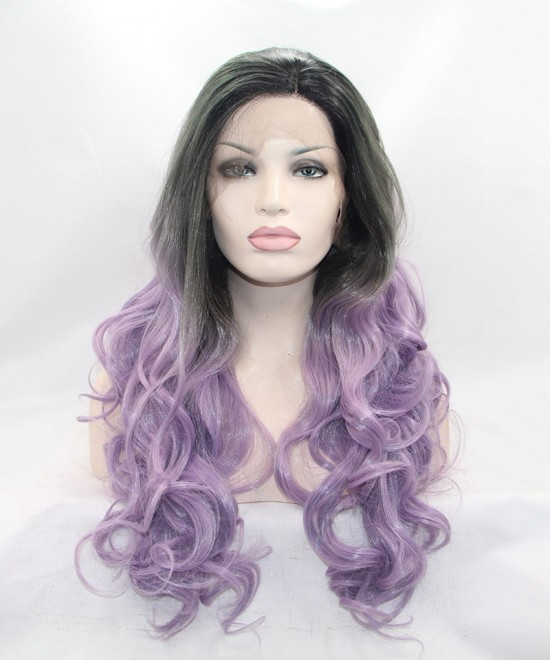 Dolago Ombre Wig Grey/Light Purple Synthetic Wig