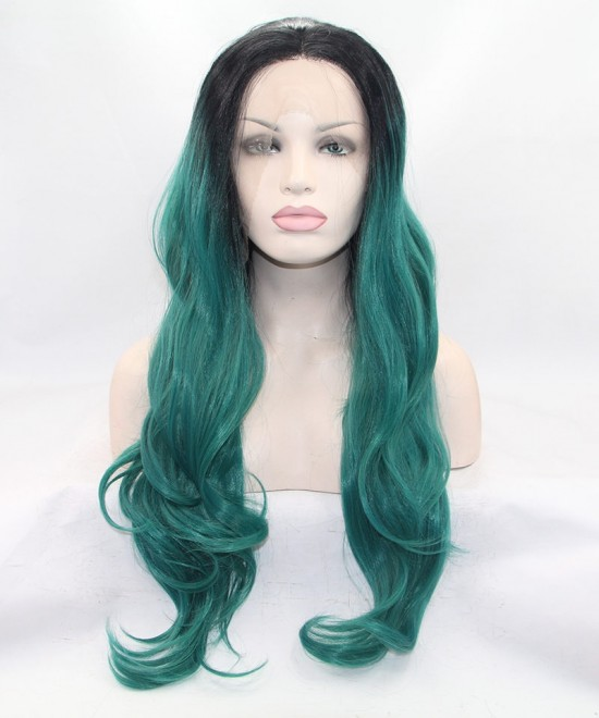 Dolago Long Wavy 1B/Green Ombre Synthetic Wig Lace Front Wig