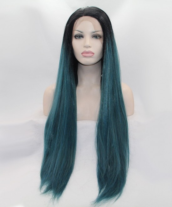 Dolago 1B/Dark Blue Ombre Synthetic Wig Lace Front Wig