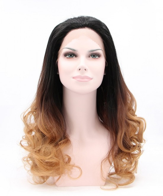Dolago Synthetic Wig Dark Brown Ombre Wig Lace Front Wig