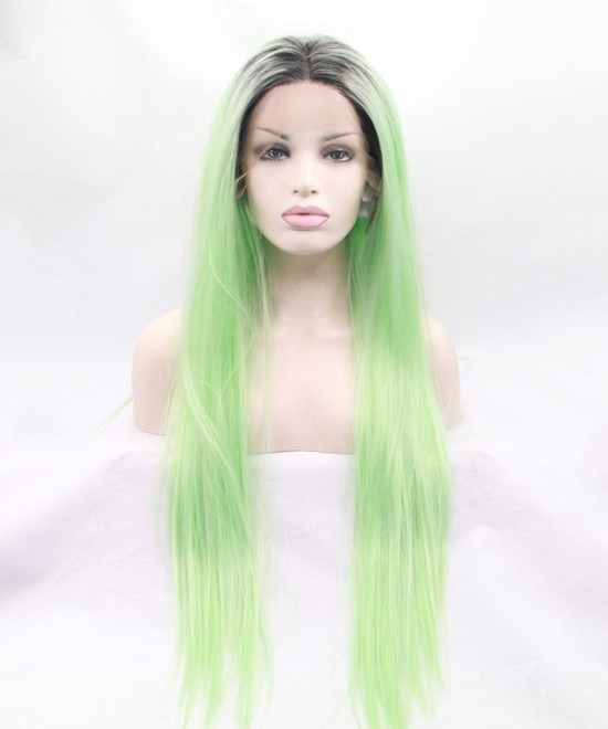 Dolago Grey/Light Green Ombre Straight Fashionable Synthetic Wig