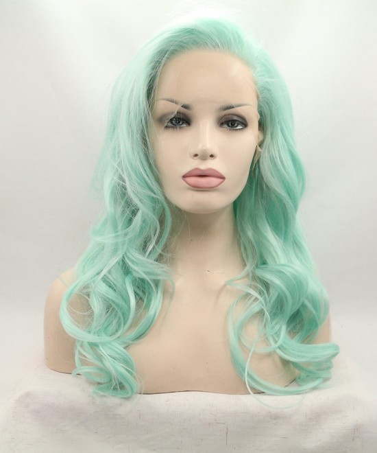 Dolago Light Green Lace Front Wig Wavy Synthetic Wig