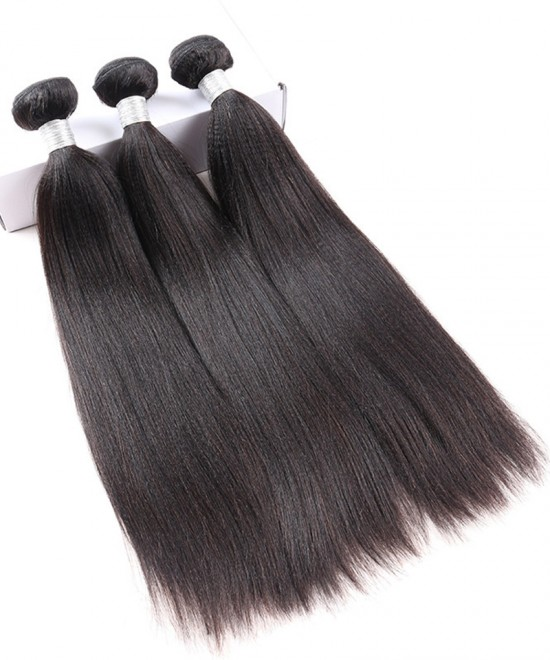 Dolago 100% Human Hair 3 Pcs Yaki Straight Brazilian Virgin Hair Bundles