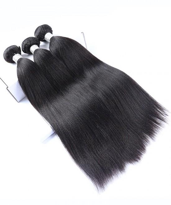 Dolago Mink European Virgin Hair Bundles Yaki Straight 3Pics Human Hair Weave Bundles Coarse Yaki European Human Hair Extensions