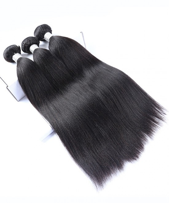 Dolago European Virgin Hair Yaki Straight Human Hair Weave Bundles 3Pics Coarse Yaki Human Hair Extensions 10-30 Inches Yaki Bundles Sales
