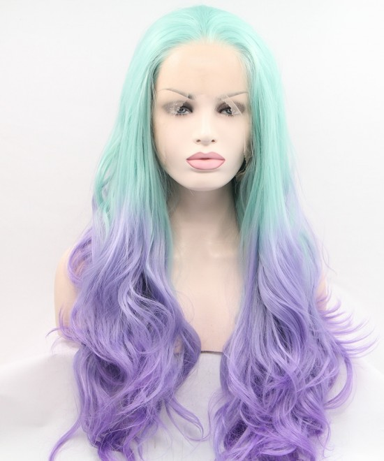 Dolago Bright Blue and Purple Ombre Wig Long Wavy Synthetic Wig