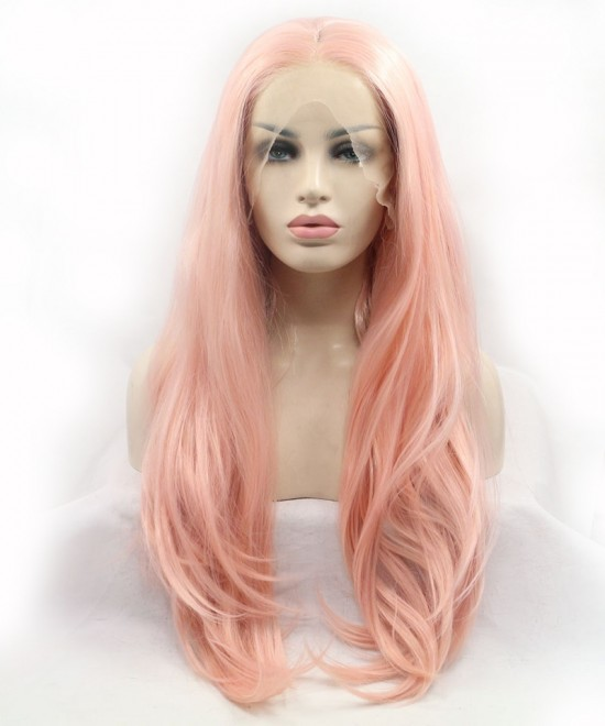 Dolago Pink Champagne Lace Front Wig Long Wavy Synthetic Wig