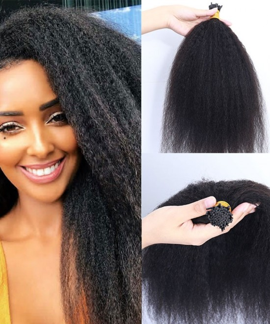 Dolago Kinky Straight Keratin Fusion Hair Extensions Micro Ring Cuticles Nail I Tip Hair Extension 100 Pieces For One Set