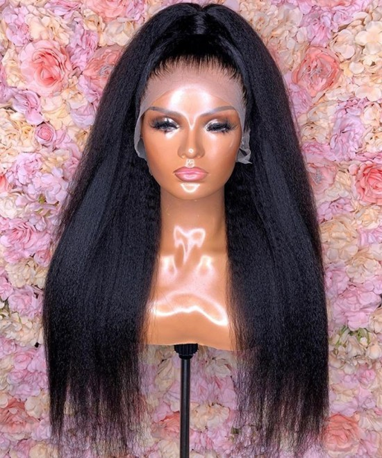 Dolago Fake Scalp Kinky Straight 13X6 Lace Front Human Virgin Hair Wigs Pre-Plucked With Natural Hair Line 150% Brazilian Hair Wigs