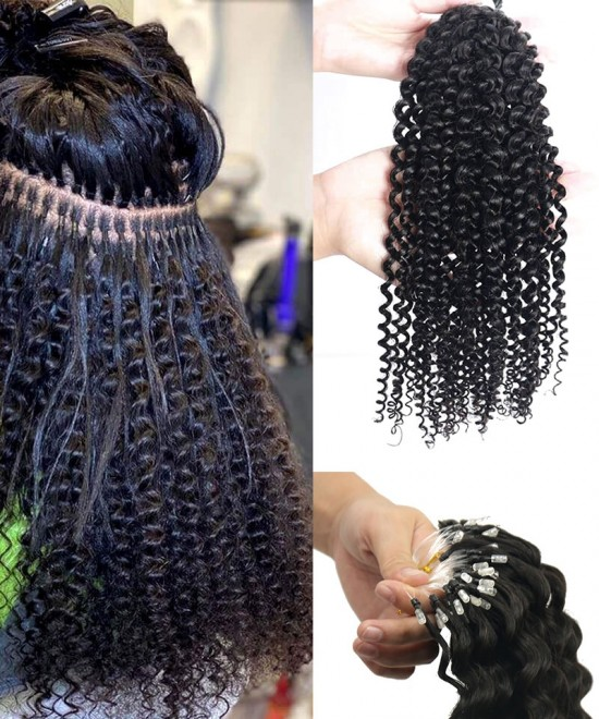 Good Kinky Curly Nano Ring Human Hair Extensions For Sale