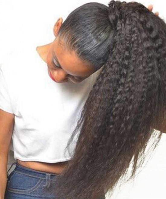 Dolago Kinky Straight Ponytail For Women Coarse Yaki Clip In Ponytails Human Hair
