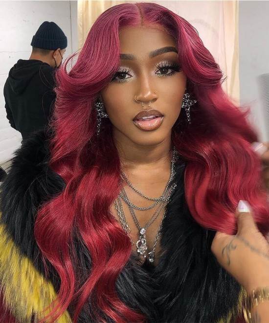 red ombre wig 4x4 lace closure human hair wigs