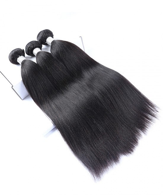 Dolago Brazilian Light Yaki Free Part Lace Frontal with 3 Bundles 100% Human Hair Weave Bundles