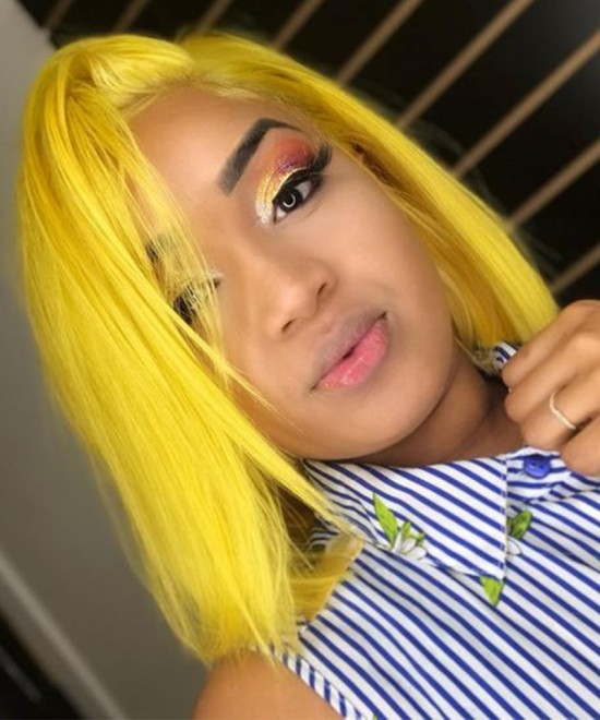 Dolago Colorful Wig Straight Bob Lace Front Wigs Pre-Plucked 130% Density Light Yellow