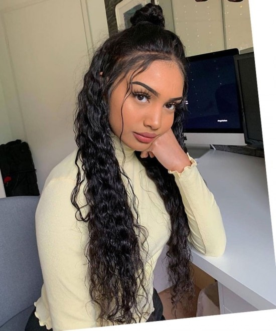Dolago Hair Wigs Water Wave 370 Lace Front Wig Pre Plucked With Baby Hair Human Virgin Hair Wigs For Black Women