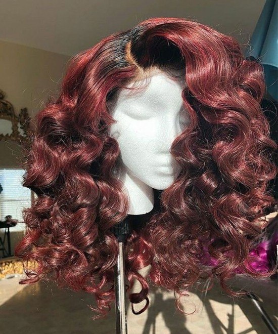 Colorful Wig Loose Wave 1B/30 Ombre Color 150% Density