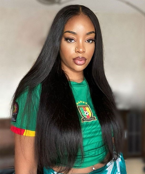 Dolago Straight wave T Part human hair lace front wigs black women 10-26 Inches T Part Lace Wigs with baby hair pre-plucked can accept customized left and right parting