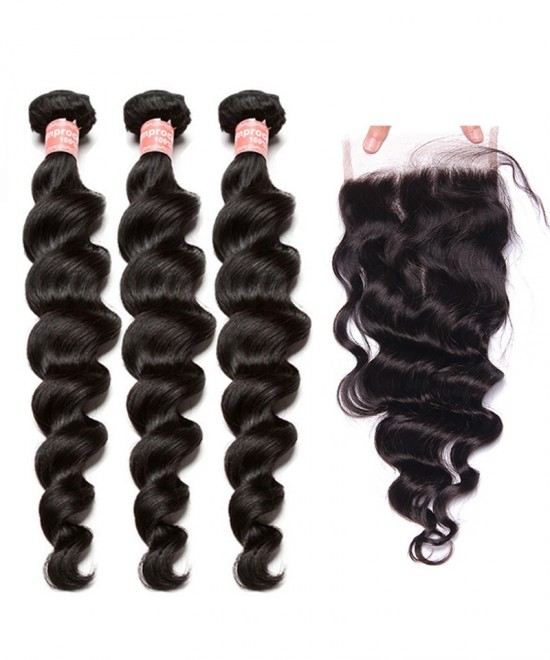 Dolago Lace Closure with 3 Bundles Loose Wave Brazilian Virgin Hair With Closure