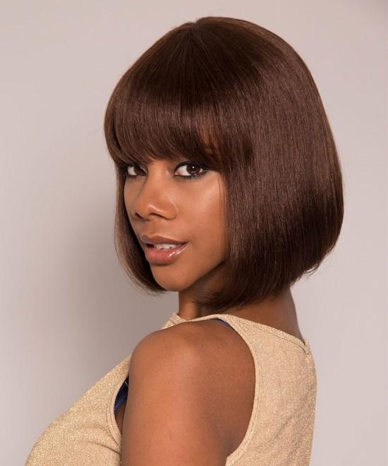 Machine Human Hair Wigs Color 4 Pixie None Lace Cut Bob Front Wigs