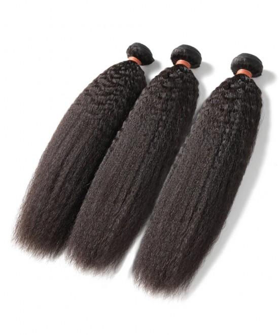 Dolago Remy Human Hair Bundles Kinky Straight Malaysian Human Hair Weave Bundles 3Pics Corase Yaki Human Hair Extensions 10-30 Inches Malaysian Bundles Sales