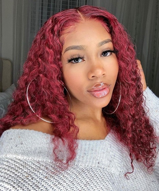 Loose Wave Ombre Lace Wigs 99J Blonde Human Hair Lace Front Wig