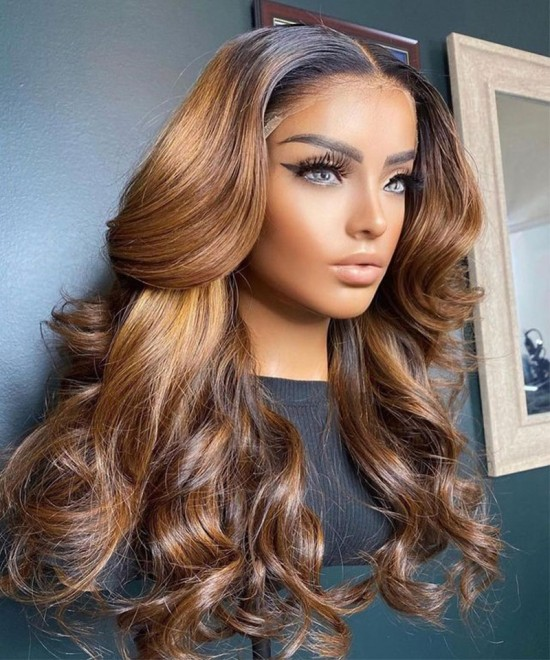 Colored Wavy Lace Front Human Hair Wigs For Women