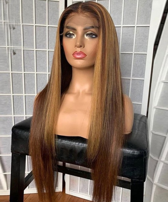 250 Density Strawberry Blonde #27 Color Lace Front Wigs