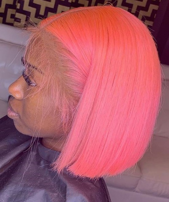 Dolago Colorful Wig Straight Short Bob Lace Front Wigs For Women Pre-Plucked 130% Density Cherry Pink Wigs With Baby Hair Free Shipping