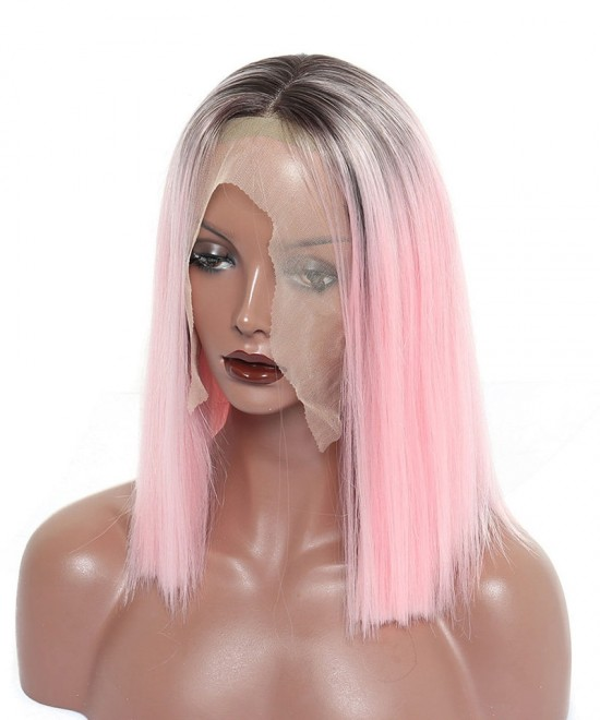 Dolago Synthetic Lace Front Wig Ombre Wigs 1B Pink Straight Short Bob Lace Front Wigs