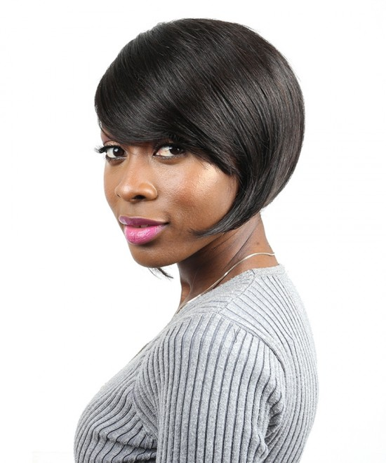 Dolago Straight Human Hair Wigs 100% Brazilian Short Bob Wig With 130% Density 1B Color
