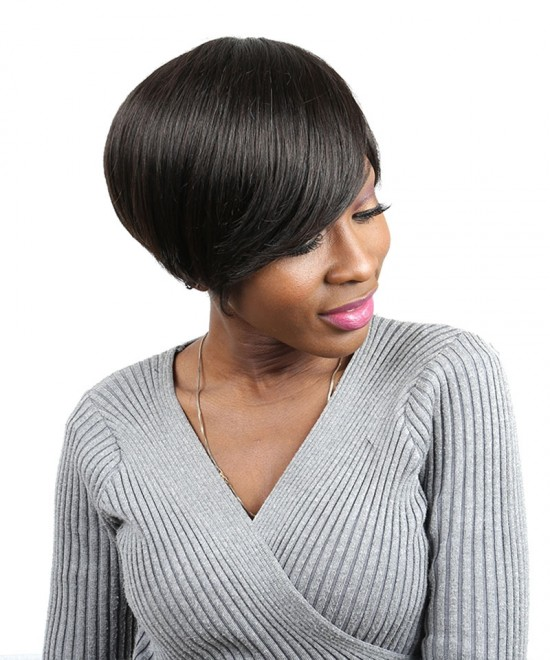 Dolago Short Human Hair Bob Wig Brazilian Straight None Lace Human Hair Wigs 8 Inches