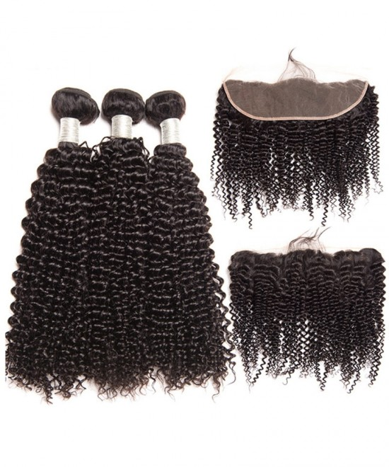 Dolago 100% Human Hair Lace Frontal with 3 Bundles Brazilian Kinky Curly Virgin Human Hair Weaves