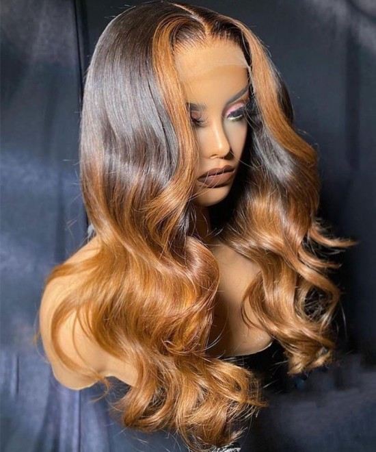 three tone ombre colored human hair closure wigs