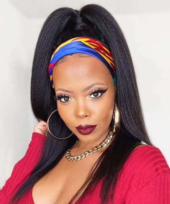 Kinky straight full lace wigs for women human hair with baby hair