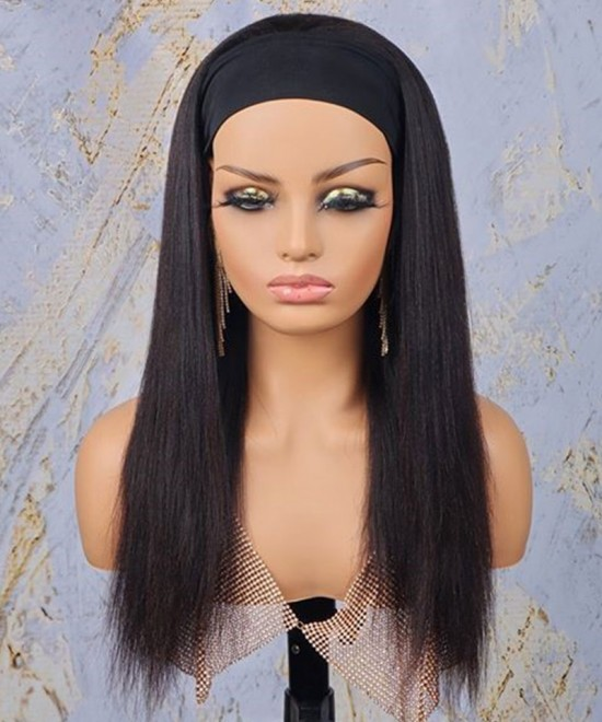 Dolago Yaki Straight Human Hair Wigs With Headband Corase Yaki Straight Headband Wig For Black Women Brazilian Wigs With Headband Attached