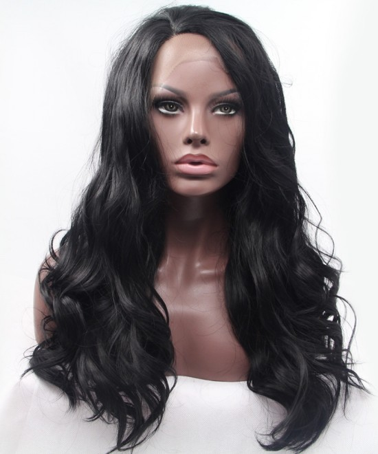 Dolago Black Natural Wavy Synthetic Wig For Black Women