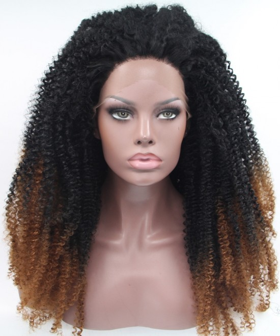 Dolago 1B/Brown Ombre Wig Afro kinky curly Synthetic Wig Lace Front Wig