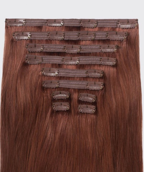 Dolago Clip in Human Hair Extensions Vibrant Auburn #33 Color 120g 7pcs/set