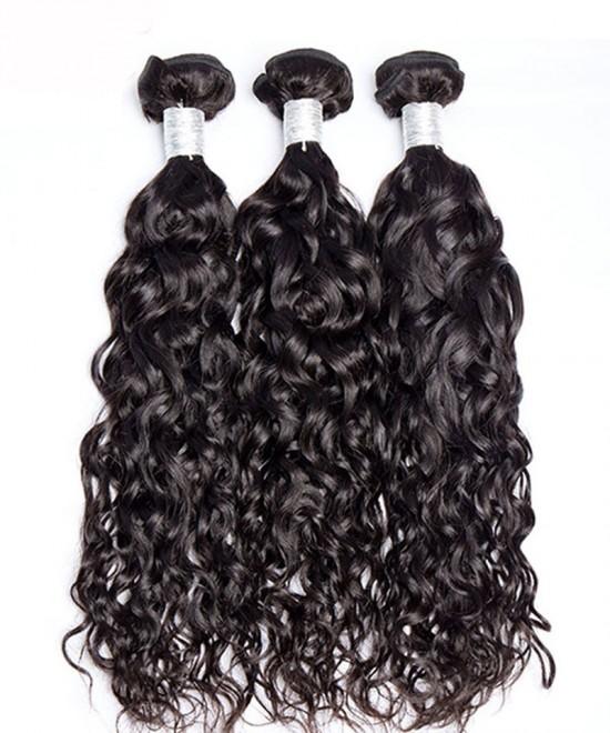 Dolago Water Wave Malaysion Virgin Hair 3 Pcs  Bundles Cutile Kept Remy Hair Weaves