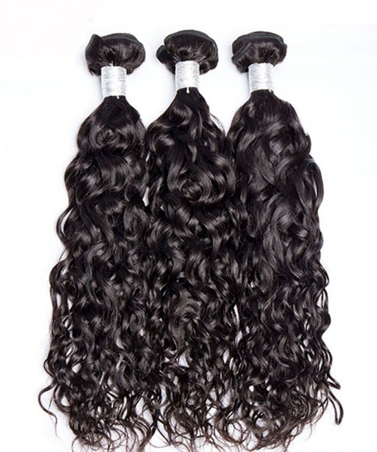 Dolago Water Wave Malaysion Virgin Hair 3 Pcs  Bundles Cutile Kept Remy Hair Weaves