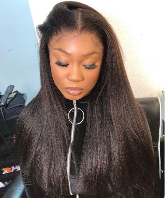 Dolago Hair Wigs Yaki Straight 250% High Density 13x6 Lace Front Wigs For Black Women Virgin Brazilian Human Hair Wigs Pre Plucked With Baby Hair