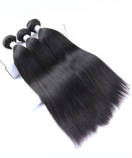 Dolago European Remy Hair Yaki Straight Human Hair Weave Bundles 3Pics Coarse Yaki Human Hair Extensions 10-30 Inches Yaki Bundles Sales