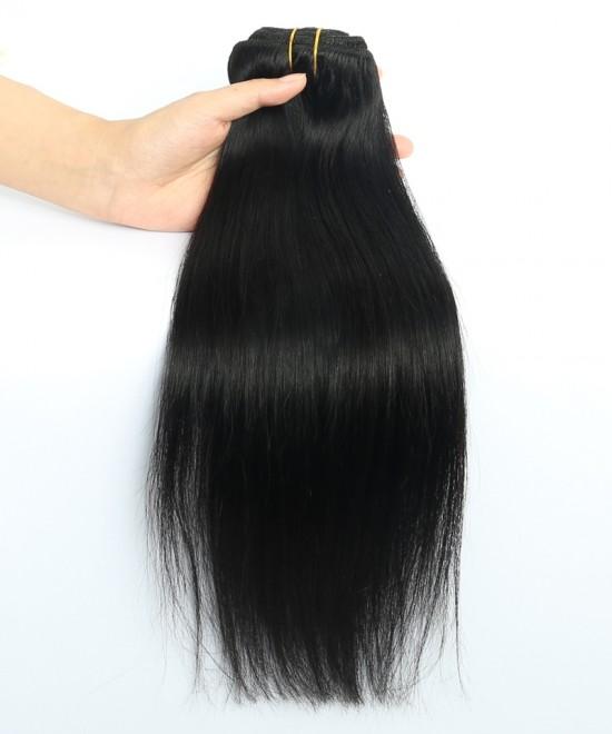 Dolago Light Yaki Straight Clip in Human Hair Extensions 120g/7pcs/Set Brazilian Yaki Clip Hair Natural Color For Black Women