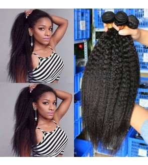 Dolago Brazilian Virgin Hair Bundles Kinky Straight Brazilian Human Hair Weaves Bundles 3Pics kinky brazilian hair weave 10-30 Inches Wholesale Hair