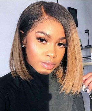 Dolago 1B/30 Ombre Color Lace Front Human Hair Wigs Pre Plucked With Baby Hair Two Tone Ombre Colorful Lace Wigs For Black Women Straight Lace Frontal Wigs