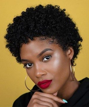 Afro Kinky Curly Wigs Brazilian Short Bob Human Hair Wig 100% Human Hair Wig For Black Women Non Lace Pixie Cut Wig