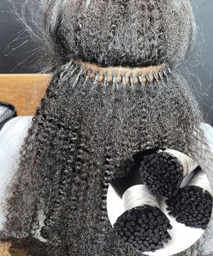 afro kinky curly  i tip human hair extensions at cheap price sales