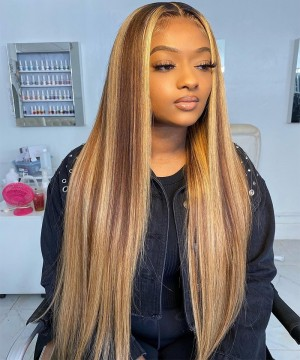 Dolago Customized Colorful 13X6 Lace Frontal Wigs Blonde Maxed 150% Density Straight Lace Front Human Virgin Hair Wigs For Black Women Pre Plucked With Baby Hair
